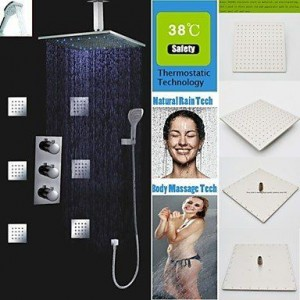 faucetaleer 16 inch thermostatic brushed rainfall shower b016nmn6g8