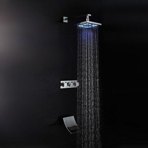 faucetaleer led brass chrome rain handshower b016nmlxo0