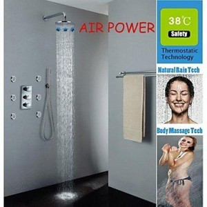 qw air injection thermostatic 10 inch rainfall showerhead b016bbzazg