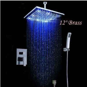 "Detroit Bathware KRE33 Yanksmart 12"" LED Wall Mounted Rain Shower Faucet"