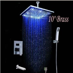 "Detroit Bathware SFDWE2 Yanksmart Luxury 10"" LED Wall Mounted Rain Shower"