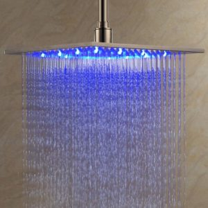 "Detroit Bathware 12"" Contemporary LED Nickel Shower 214781"