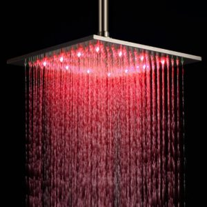 "Detroit Bathware D26524 Square 12"" LED Rainfall Showerhead"