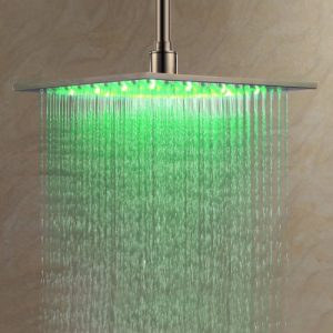 "Detroit Bathware L0966 Bathroom 16"" Square LED Showerhead"