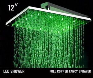 Hai Lighting 12 Inch Brass Square RGB LED Saving Showerheads