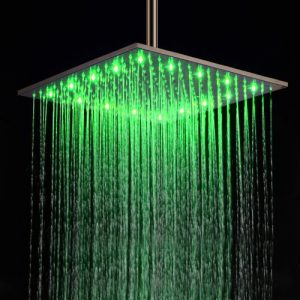 Lightinthebox 16 Inch Stainless Steel LED Light Rainfall Showerhead 172072ff
