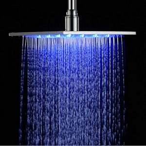 Rozinsanitary 12 Inch Chrome LED Color Rainfall Showerhead