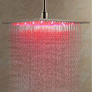 Rozinsanitary 8 Inch LED Color Brushed Nickel Rain Showerhead