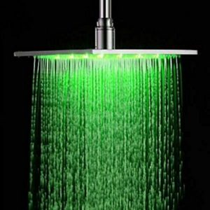 Senlesen 12 Inches Led Color Changing Chrome Brass Rainfall Showerhead