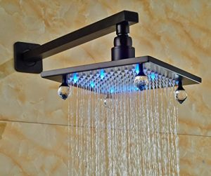 Senlesen SE4067 Crystal LED 8 Inch Brass Rain Showerhead