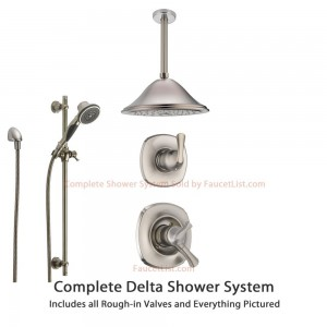 delta faucet stainless ceiling mount rain showerhead ss179282ss