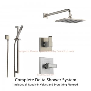 delta faucet arzo stainless diverter rain showerhead ss148682ss