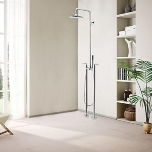 solid brass contemporary floor standing shower faucet with hand shower b013wuj8y8
