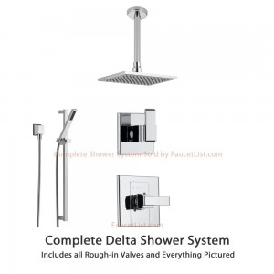 delta faucet arzo chrome square rain showerhead 3 setting ss148681
