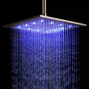 detroit bathware bathroom shower head led square 12 inch square chromed brass rain showerhead 81001