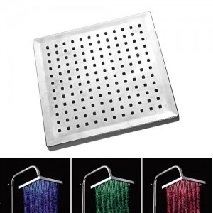enjoydeal 3 colors new led light square rain top overhead showerhead