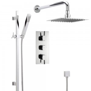 hudson reed handset rain easy clean head thermostatic shower system 2 outlets