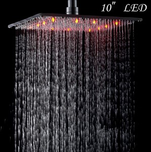 rozinsanitary 10 inches led light rain showerhead
