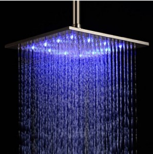 rozinsanitary LED 10 inch changing color rainfall shower head