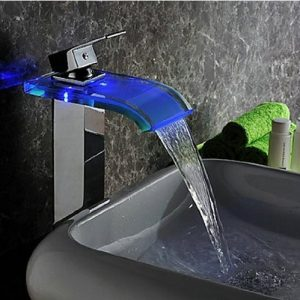 Detroit Bathware 0547w LED Waterfall Faucet Basin Mixer Tap