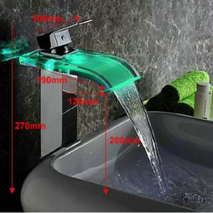 Detroit Bathware Water Power LED Waterfall Faucet 2301