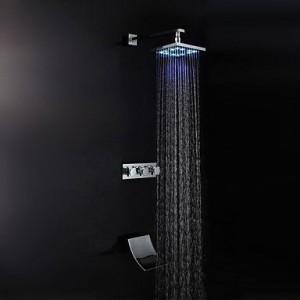 faucetdiaosi led brass chrome rain handshower b0160o2mgo