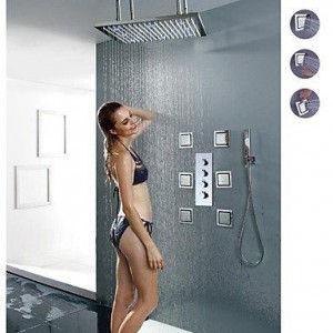 ltyu faucets 20 inch led colors brushed showerhead b0166ewr4k