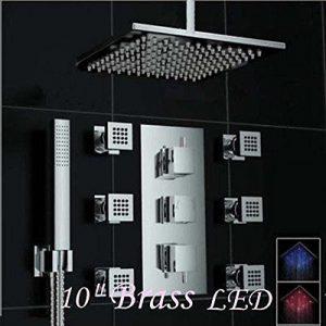 Rozinsanitary 10 Inch Thermostatic Mixer LED Rain Shower