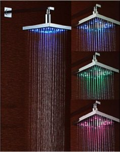Rozinsanitary 12 Inch LED Colors Wall Mount Chrome Showerhead