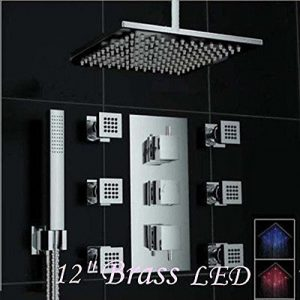 Rozinsanitary 12 Inch Thermostatic LED Rain Handshower