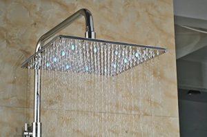 Senlesen SE3861 10 Inch LED Chrome Brass Rain Handshower