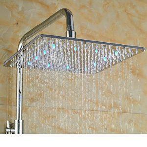 Senlesen SE4112 Chrome Brass 10 Inch LED Rainfall Handhower