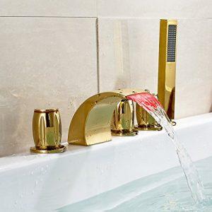 Rozinsanitary Deck Mount LED Light Bathtub Faucet Shower