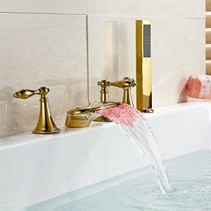 Rozinsanitary LED Colors Waterfall Bathtub Faucet Handshower