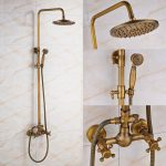 rozin bathroom antique brass rainfall shower faucet