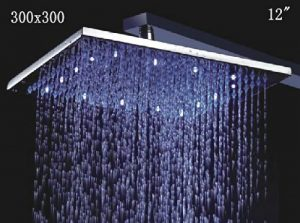"Detroit Bathware 03254 Stainless Steel Rainfall 12"" LED Showerhead"