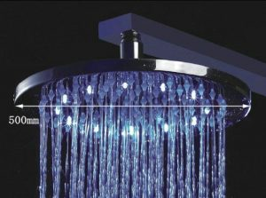 Detroit Bathware 20-inch Luxury Water Power Round 3 Color LED Temperature Sensitive Bathroom Rainfall Shower Head , Nickel Brushed Finsih Ys-1742