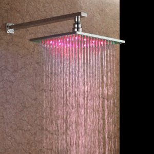 "Detroit Bathware D8950 10"" Brass Square LED Rainfall Showerhead"