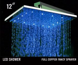 Hai Lighting Luxury 12 Inch LED Brass Square Showerhead