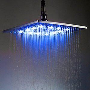 Rozinsanitary 8 Inch LED Light Chrome Rainfall Showerhead