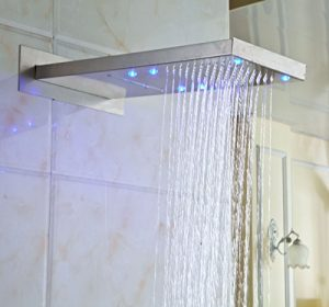 Rozinsanitary LED Brushed Nickel Waterfall Rainfall Showerhead