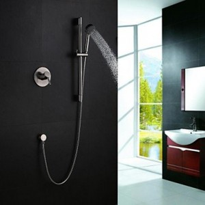 contemporary nickel brushed wall mount sliding with hand shower b0141xujio