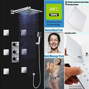 weiyuan thermostatic 10 inch 7 colors led square rainfall and massage spray jets b0142a49r8