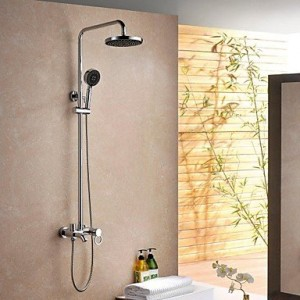 guoxian contemporary shower chrome finish brass three holes single handle shower b013vxdaao
