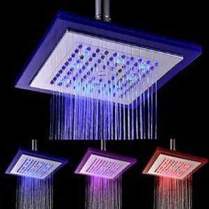 xzl contemporary electroplate color changing led round shower b015h7ij0i