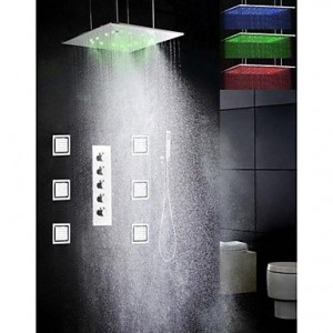 faucet 4456 20 inch brushed led rainfall showerhead