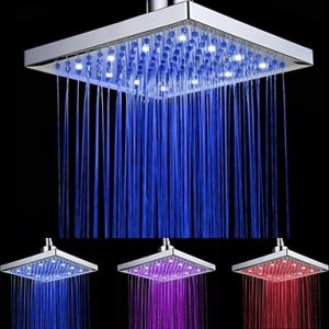 shower heads 8 inch battery free led 7 color changing square showerhead