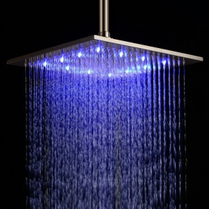 amzdeal wall mount square rainfall led shower head 12 inch