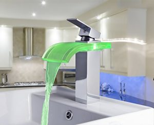 Detroit Bathware Water Power 3 Color LED Waterfall Faucet 63274
